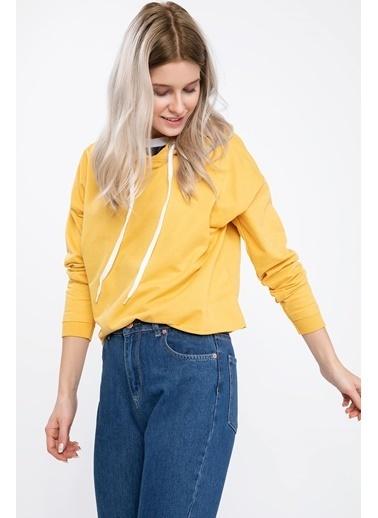 DeFacto Kapşonlu Sweatshirt Sarı